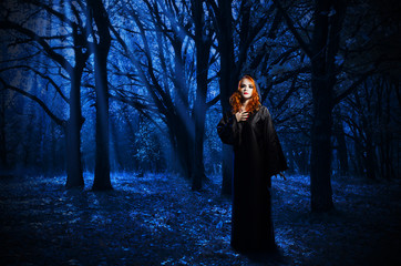 Fototapete - Witch in the night forest