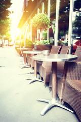 Cafe terrace in summer Paris