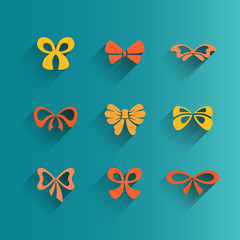 Set of isolated bow icons, vector