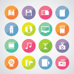 Computer and storage icons set