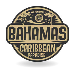 Stamp or label with the name of Bahamas