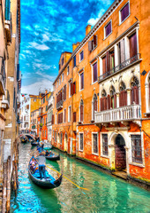 Traditional Gondolas at Venicee Italy. HDR processed