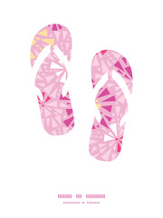 Vector pink abstract triangles flip flops silhouettes pattern