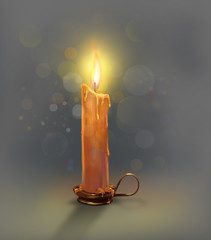 The illustration with burning candle.