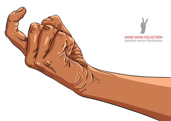 Come on hand sign, African ethnicity, detailed vector illustrati