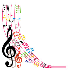 Music notes background, stylish musical theme composition, vecto