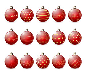 Set of red Christmas balls