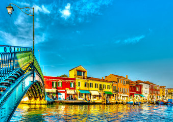 the Main Canal at Murano island near Venice Italy. HDR
