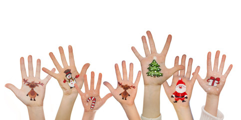 Children's hands raising up with painted Christmas symbols: Sant