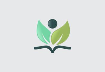 book leaf vegetarian icon vector logo