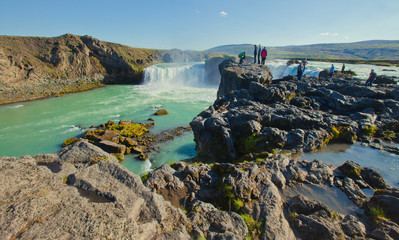 Beautiful vibrant panorama picture with a view on icelandic wate