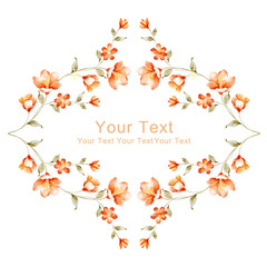 watercolor floral illustration collection. flowers arranged un a shape of the wreath perfect