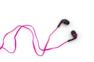 Pink earphones.