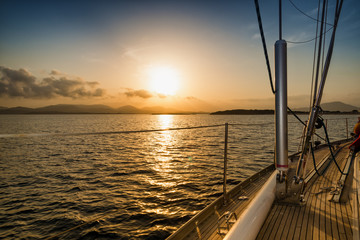 Fototapete - sunset on the sea from the sail boat
