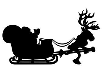 Santa Claus and reindeer.