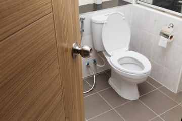 white flush toilet in modern bathroom interior, focus knob door.