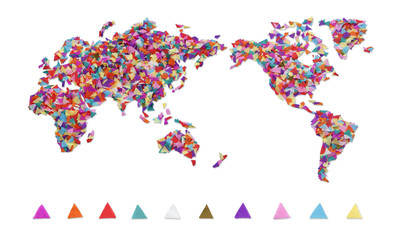 World map made of confetti / with clipping path