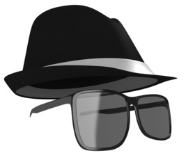 Dark glasses and black hat disguise for a detective or spy