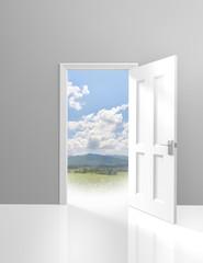 Door opening to an adventurous outdoor trip in the wild