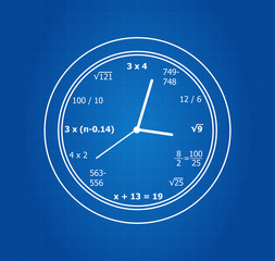 Mathematical Equations Clock On Blueprint