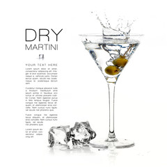Dry Martini Cocktail with Big Splash. Design Template