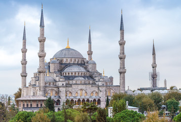 Exterior view of Blue Mosque on a beautiful evening, Istanbul