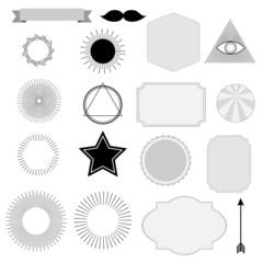 Set of vintage sunburst, symbols, labels, tags, hipster design