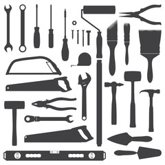 vector house remodel instruments dark grey silhouette set