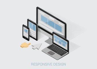 Flat 3d isometric responsive web design infographic concept