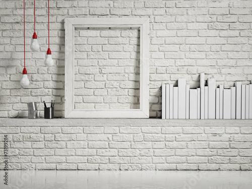 mock up white frame on white brick wall\