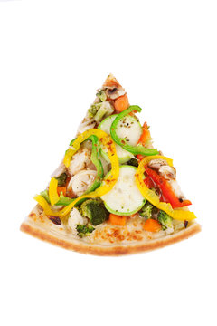 Italian pizza with zucchini, sweet peppers, broccoli,