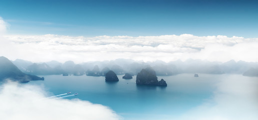 Aerial panoramic view of Halong Bay coast near Hanoi, Vietnam. S