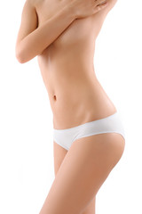 The woman's body on white background