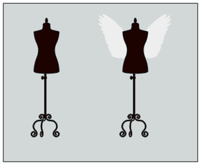 fashion mannequins, vector set with wings