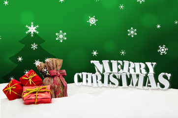 Christmas background - Christmas tree - gifts - green - Snow
