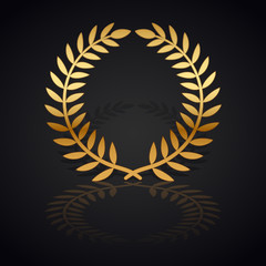 Gold laurel wreath with  shadow and reflection