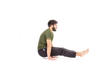 Man in crow pose