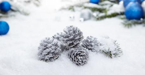 Blue chrismas  gifts box on snow