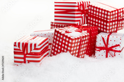 Small Handmade Gift Boxes In Snow Stock Photo And Royalty Free