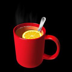Red mug of tea with a slice of lemon black