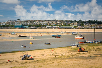 Delta of River Camel in low tide and Padstow, Cornwall, UK.