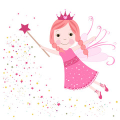 Cute fairytale pink stars shining vector