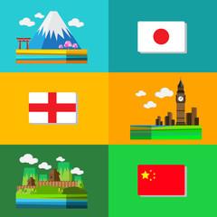 travel design Japan England  and China