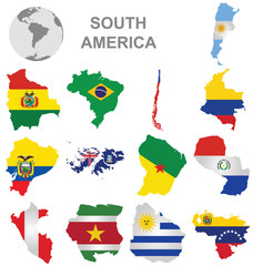 Flags of South America collection