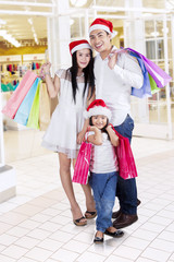 Family with shopping bags at mall