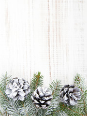 Christmas background with decoration with cones and twigs