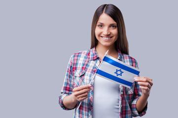 Beauty with Israeli flag.