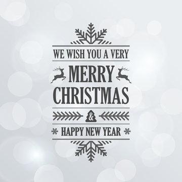 Merry Christmas Vintage Retro Typography Lettering Design