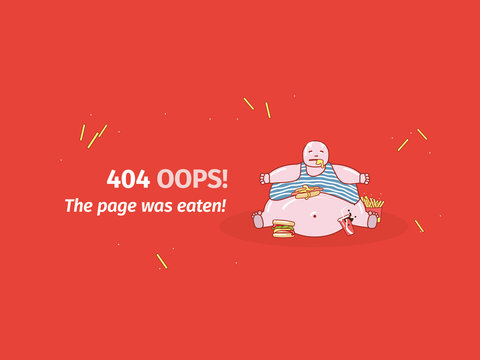 404 page not found. fast food. fat.