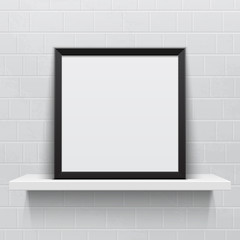 Realistic picture frame on white realistic shelf, against brick